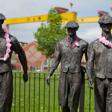 'The Yardmen' sculpture Newtownards Road