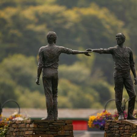 Hands Across the Divide sculpture Derry