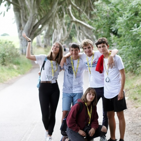 Students at Dark Hedges