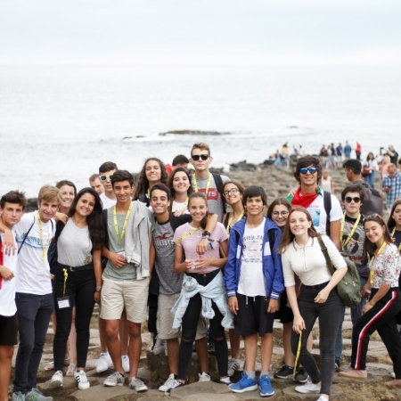 Students at Giant's Causeway