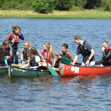 Students in canoes